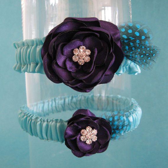 Garter Tiffany Blue Plum Purple Feather Rose Garter by HARTfeltart, $38.50