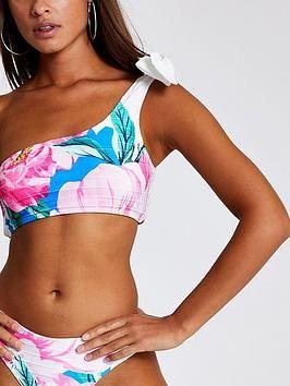 River Island Bold Floral Bow Tie One Shoulder Bikini Top – White