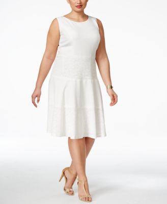 Kasper Plus Size Lace Detail A Line Dress Wear To Work Women