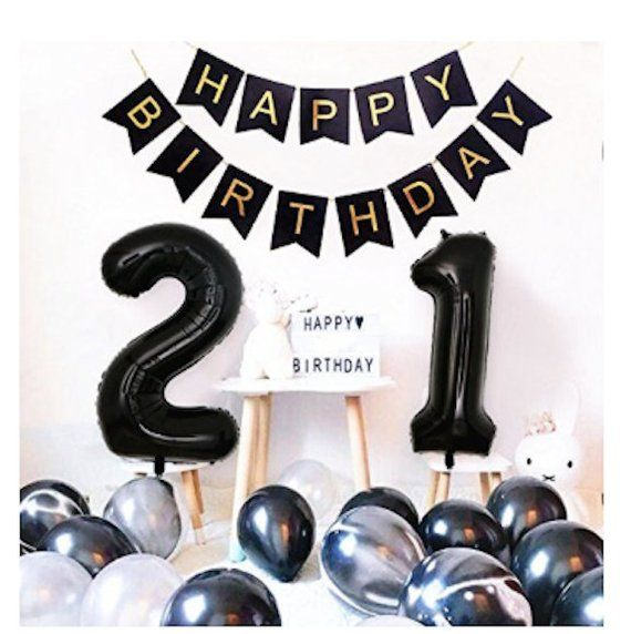 Items similar to 21st Birthday Party Decorations Happy Birthday Banner Black Number 21 balloons Balloons 21st 12th Birthday Party Supplies Photo Props on Etsy
