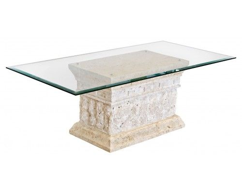 High Quality Marina Stone Coffee Table In Clear Glass Top