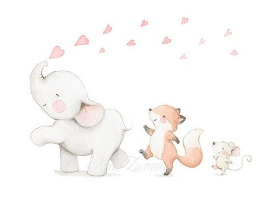 "Nursery Art ""ANIMAL PARADE"" Art Print, Kids Illustration, Art for girls, Elephant nursery art, Animal parade print, Elephant wall art"