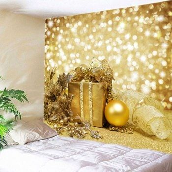 Christmas Gift Bauble Print Tapestry Wall Hanging Art | Christmas ...
