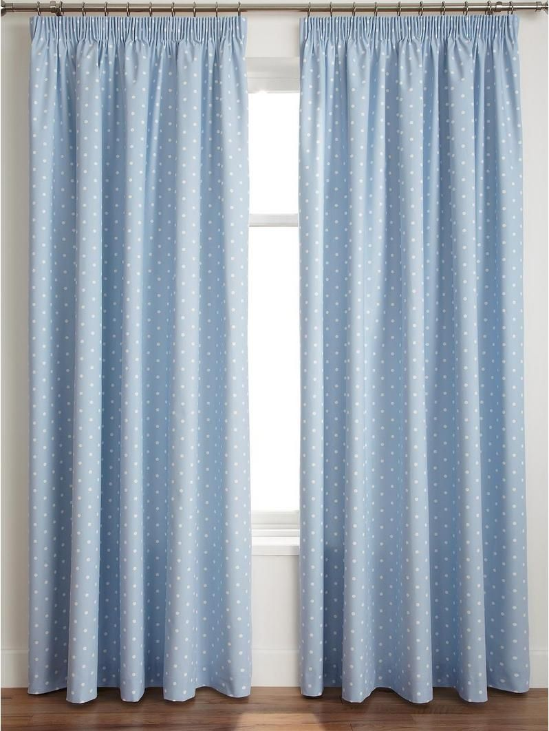 Dotty Thermal Blackout Pencil Pleat Curtains Baby Whitney