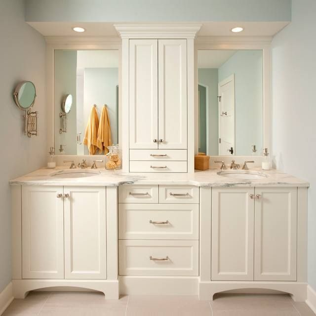 Bathroom Idea Love All The Cabinets Especially Separating The - Double vanity with two mirrors
