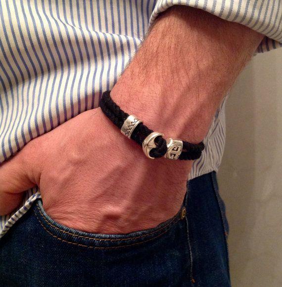Black Cord Bracelet Men Black Bracelet Men Cord  от UkrHeart