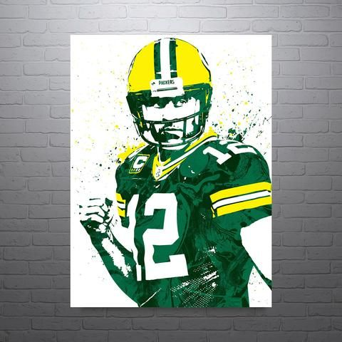 Aaron Rodgers Green Bay Packers Poster Pixartsy 1 Rodgers Green Bay Sports Art Print Aaron Rodgers