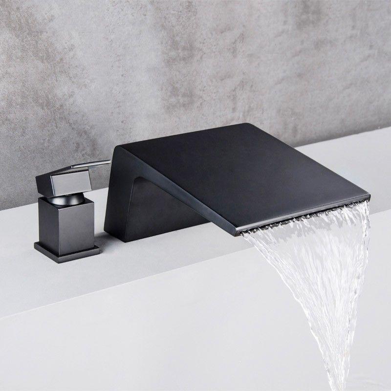 Black Deck Mount Garden Tub Faucet Single Handle Waterfall Bathtub Mixer Tap Waterfall Bathtub Faucet Contemporary Bathroom Designs Tub Faucet