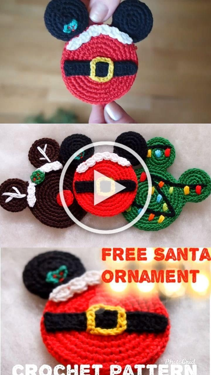 This awesome Christmas ornaments will look great on your Christmas Tree! Ornaments are the perfect, handmade addition for you to work up and add to your Christmas decorations. Children will love them from year to year and can enjoy decorating the tree since they arent breakable! #CrochetChristmas #SantaClaus #Disney #Mickey #Christmas #elf #crochetpattern #crochet #freecrochetpattern #Rudolf #Christmastree #Grinch Snowman #Новыйгод #Дедмороз