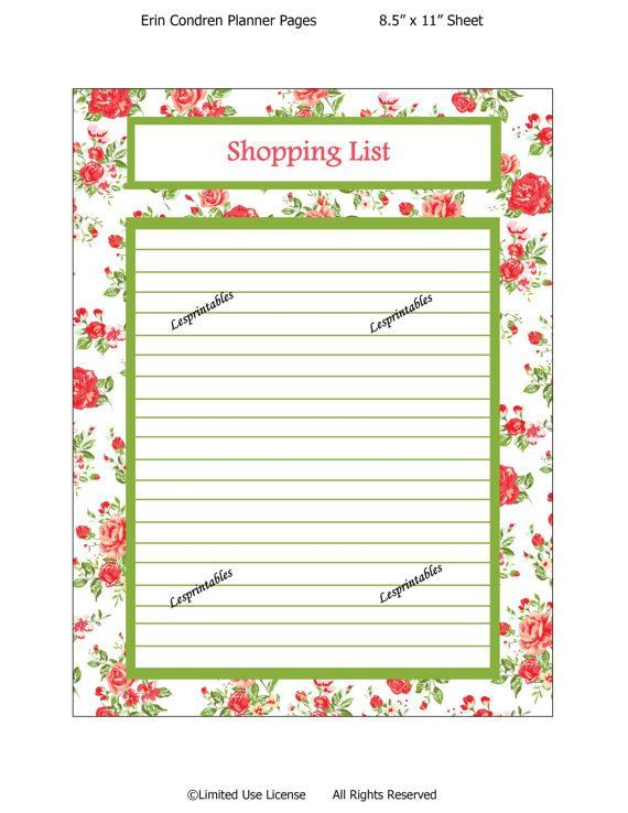 Printable planner-shopping List-Erin Condren planner-planner insert-life planner-cute planners- planners-INSTANT DOWNLOAD