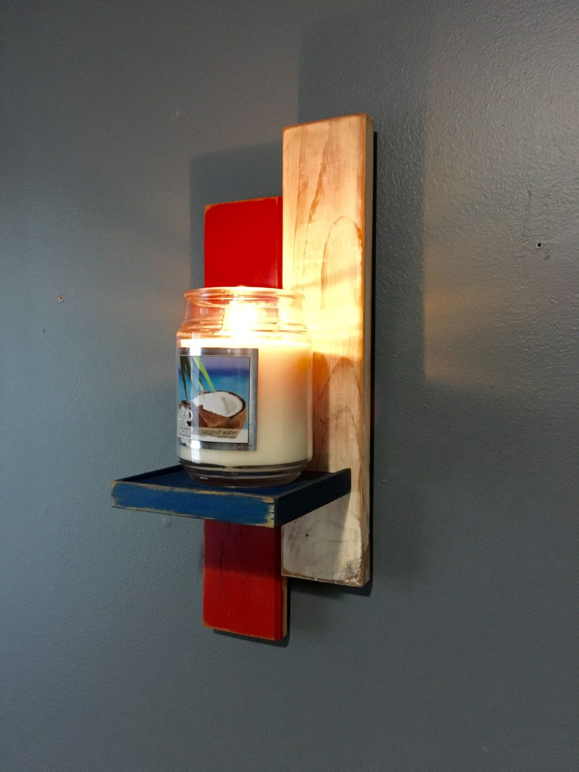 Yankee Candle Holder Reclaimed Wood Red White And Blue Rustic Style Wall Decor American Flag Sconce By Lumberlovin On Etsy