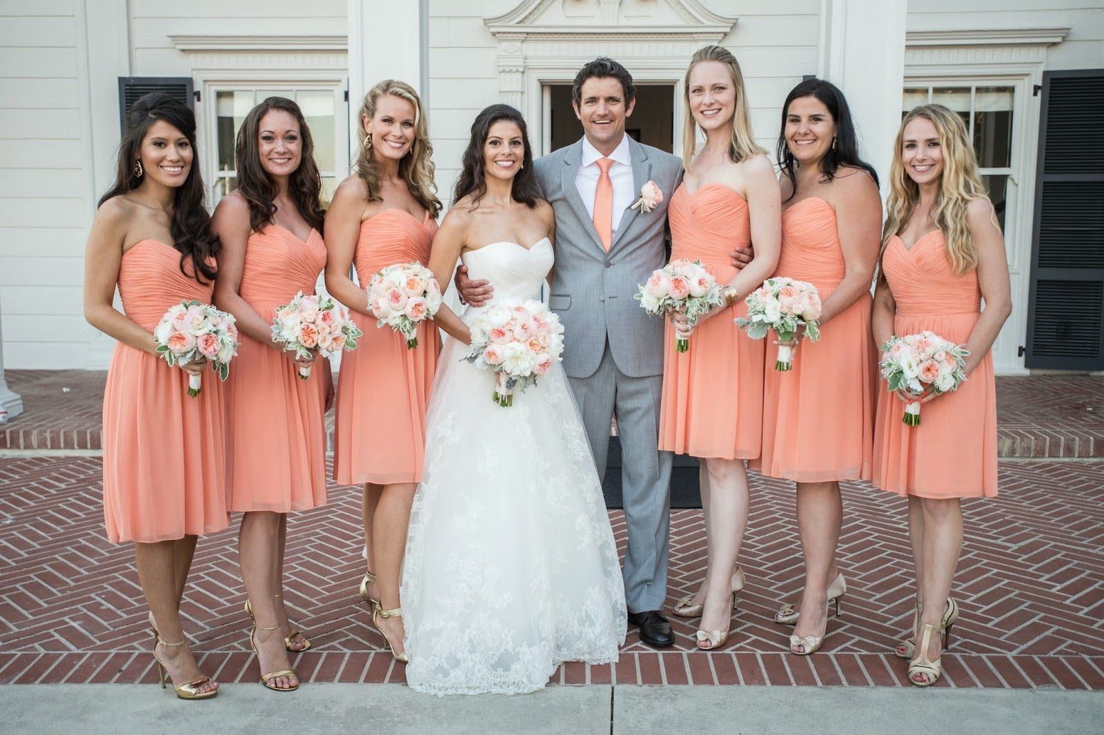 Coral peach grey wedding colors nuptials pinterest gray help me with my wedding for silver or gray color scheme gray wedding with peach coral bridesmaid dresses ideas ombrellifo Gallery