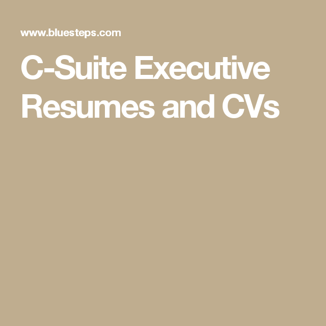 CSuite Executive Resumes And Cvs  Put A Pin In It