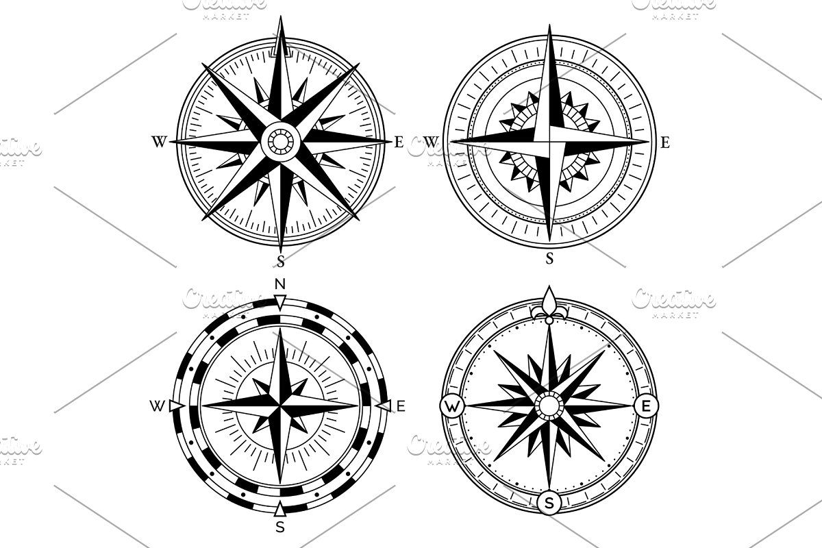 Vintage Nautical Compass Signs Vector Set Retro Direction Symbols In 2020 Compass Icon Nautical Compass Navigation Design