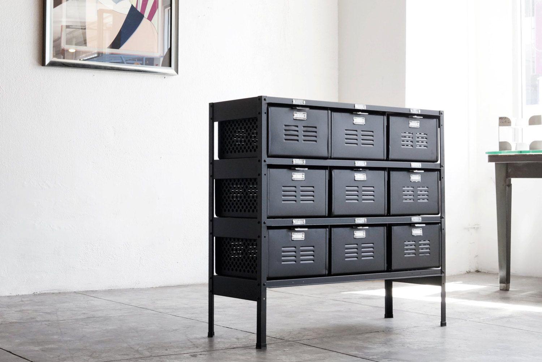 3 X 3 Reclaimed Locker Basket Unit Refinished In Matte Black On