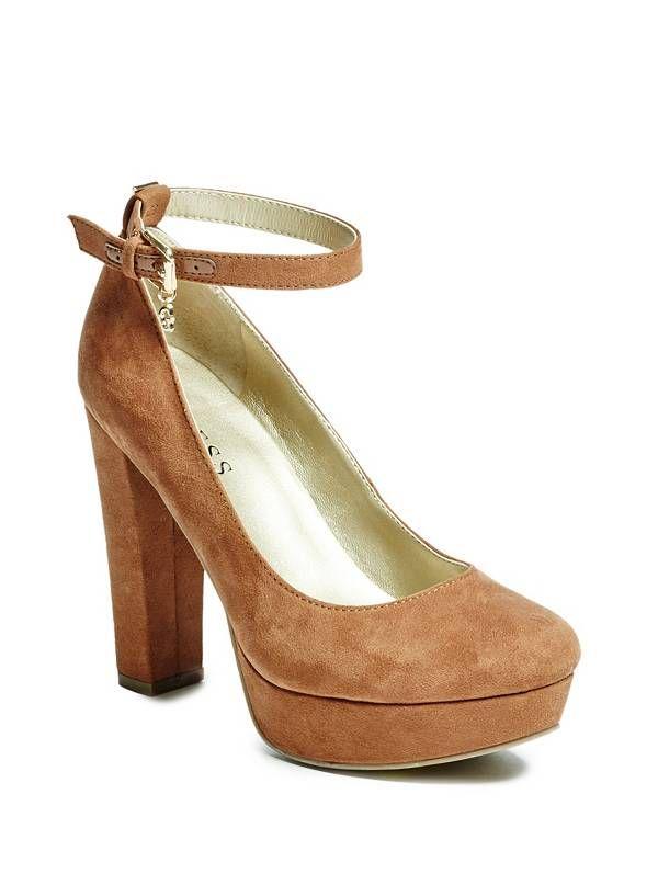 cde71af909d GUESS  Evony  Tan Suede rounded-toe slender ankle strap chunky heel platform  Pump