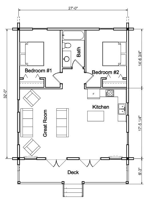 Hunter Plan 864 Sq Ft Cowboy Log Homes Small House Floor Plans Tiny House Floor Plans Small Cabin Plans