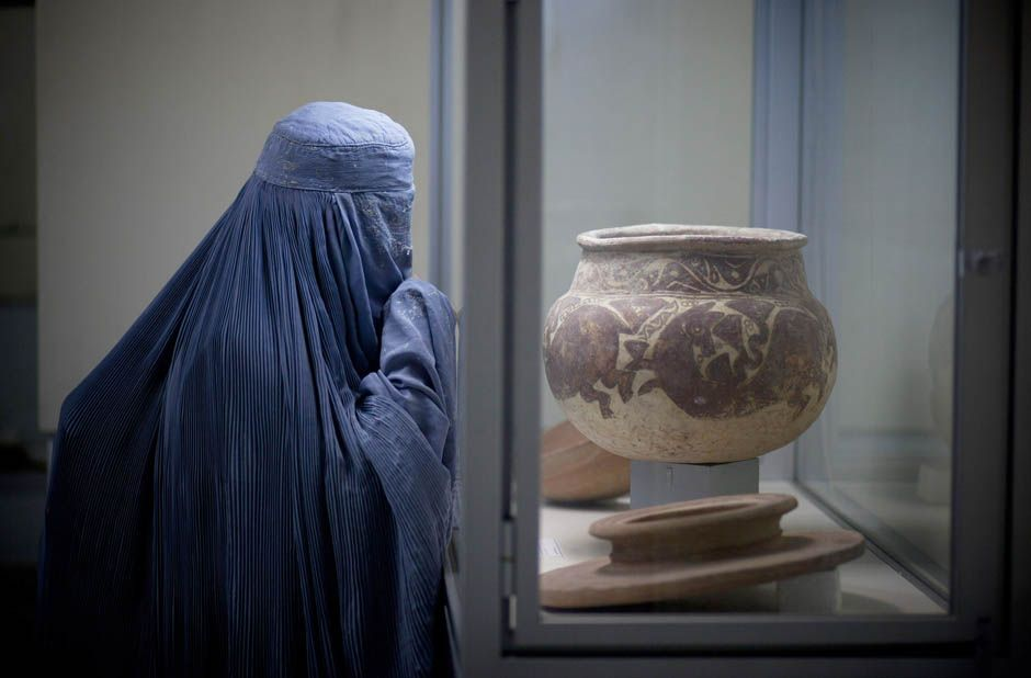 Visitor at the Kabul Museum, Afghanistan. This makes me sad.