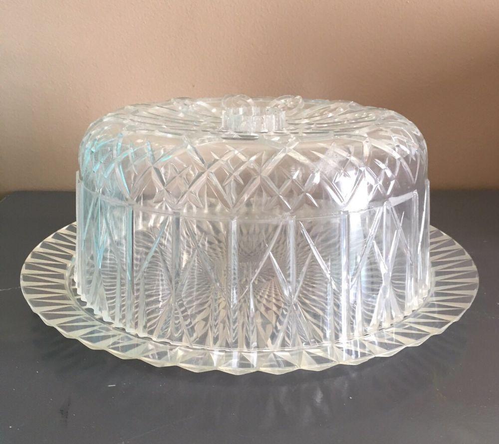Vintage Retro Acrylic Cake Dome Cover Lid Beveled Clear Plastic Nice & Vintage Retro Acrylic Cake Dome Cover Lid Beveled Clear Plastic ...