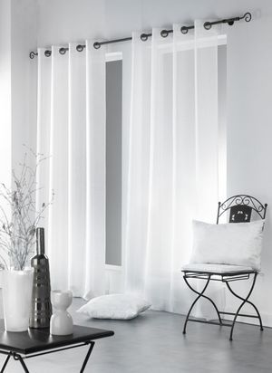 Rideau voilage blanc 1x140x260 SALSA   Rideaux cuisine in ...