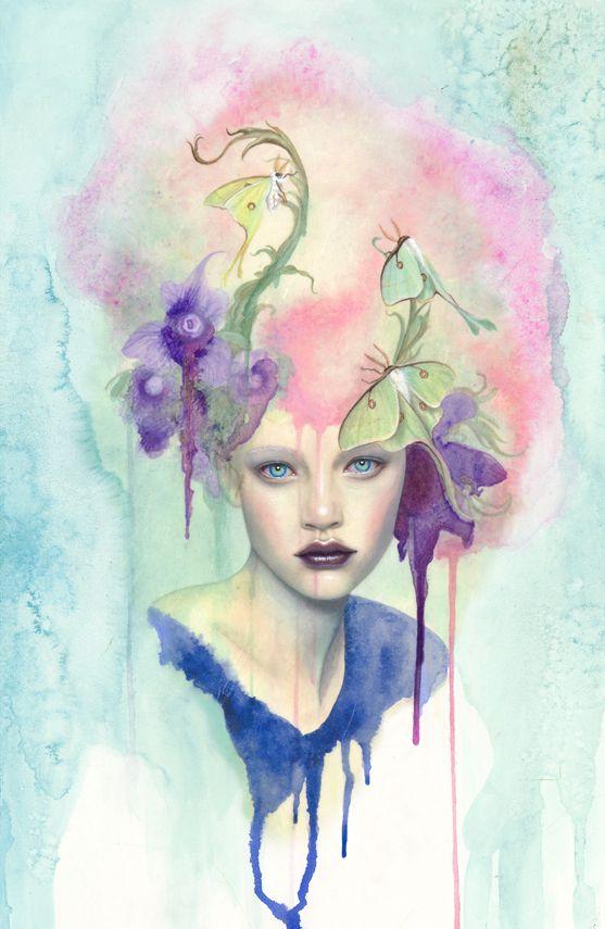 Nachtfalter Extended Full Bleed Surreal Art Watercolor Art Art
