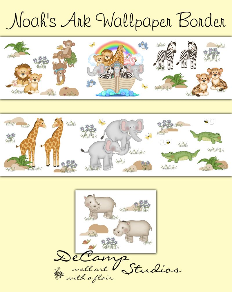 Noahs Ark Wallpaper Border Wall Decals Baby Cute Jungle Animals ...