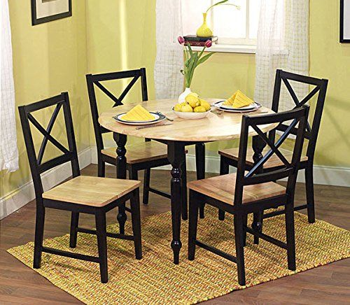 Simple Living Virginia Modern 5Piece Black And Natural Wood Unique Simple Dining Room Decorating Inspiration