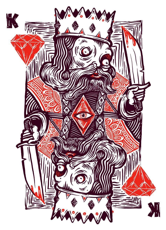 Suicide King - Silkscreen Art Print - 16 x 20 by QuarrelsomeYeti on ...