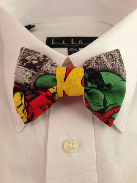 Marvel Avengers Comic Print Bowtie by 2marys on Etsy, $6.00 -- geeky groomsmen? I think this would be perfect for the guys to tie everything together!!!! Would be epic!!!