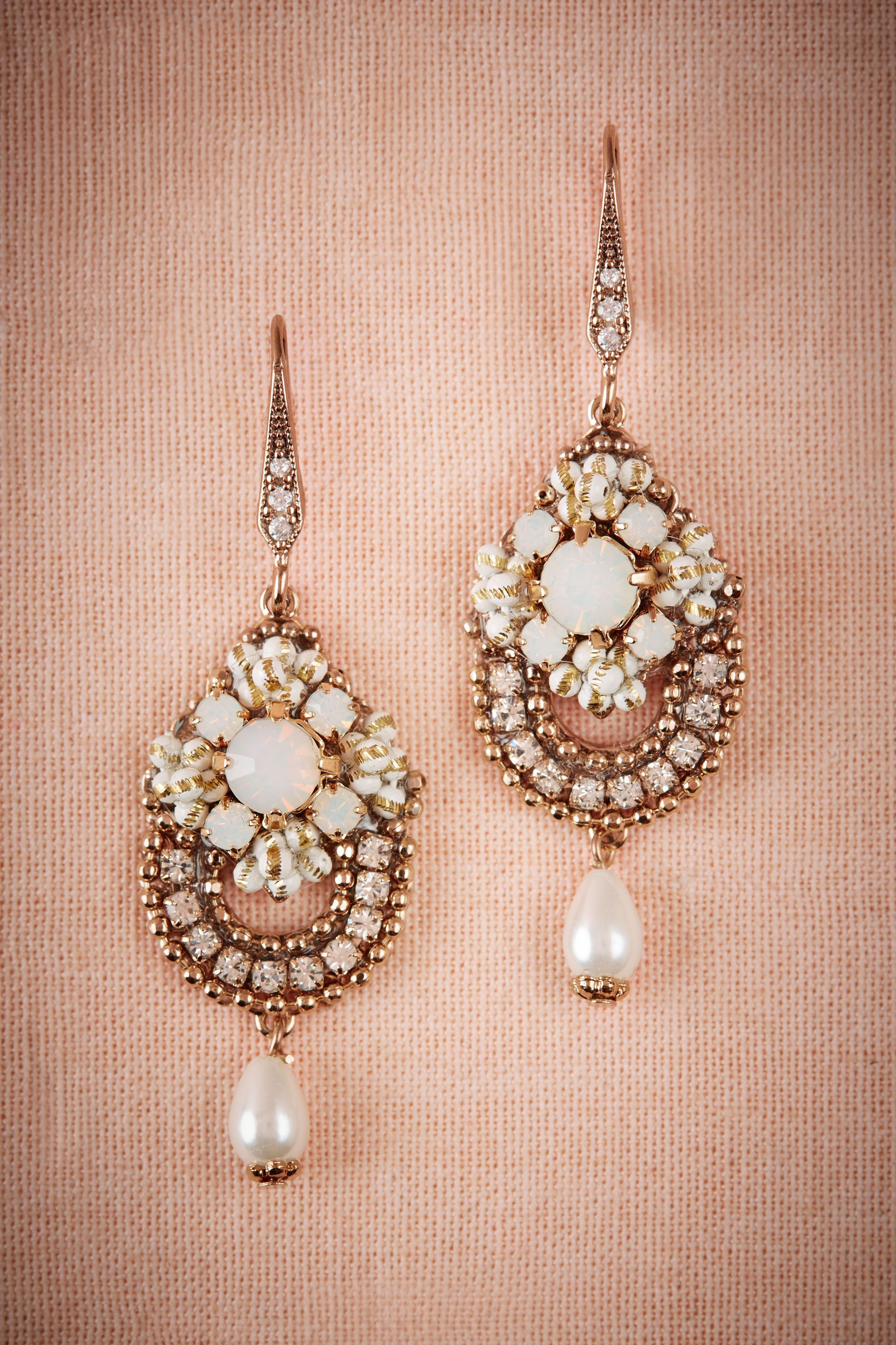 Vintage Inspired Bridal Jewelry Influenced By 1930s Design Crystal And Pearl Drop Earrings Concertina Chandeliers From Bhldn