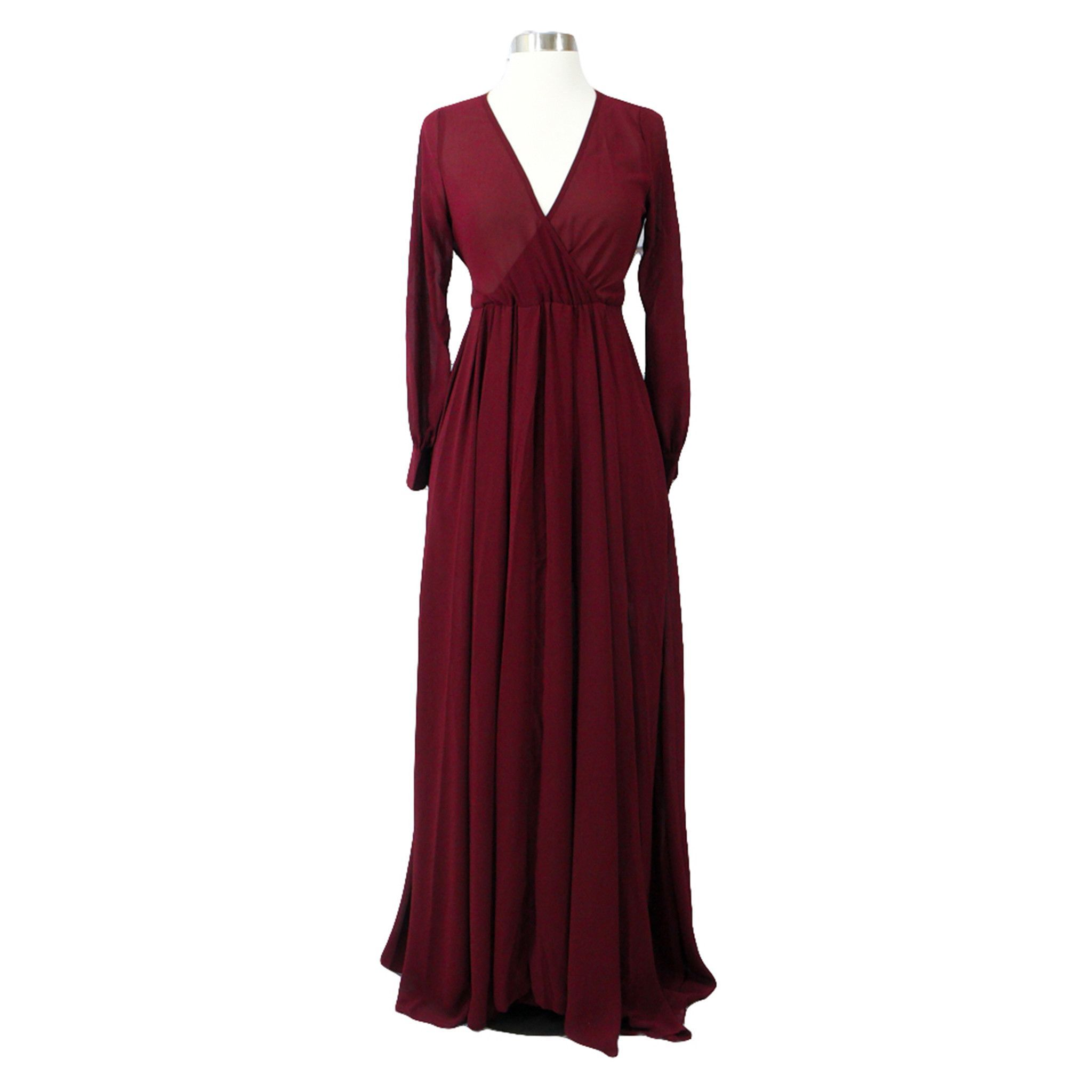 Burgundy red vneck long sleeve chiffon maxi dress products