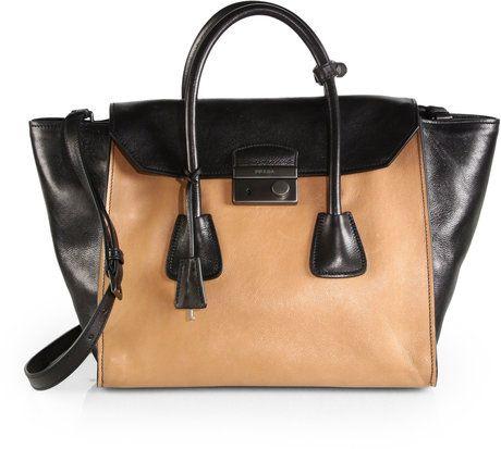 8ca394bad1c4 Prada Glace Calf Bicolor Top Handle Bag in Black (TAN BLACK) | Lyst ...