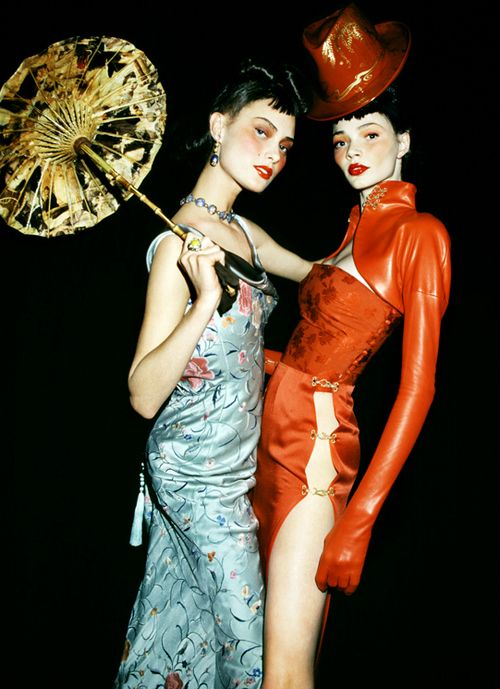 90's flashback: Shalom Harlow and Jodie Kidd backstage at Christian Dior F/W 1997-98.  - love the makeup. they look like painted porcelain dolls!