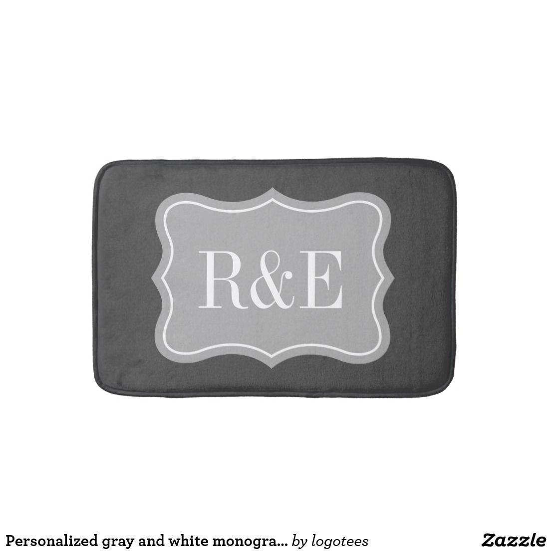 Gray And White Monogram Bath Mat