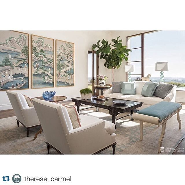What a gorgeous and serene room from designer @therese_carmel  Nature always provides the best color palettes. Featuring the Paris Chair from #janshowerscollection  #interiordesign #oceanview #timelessdesign #tothetrade #livingroomdesign