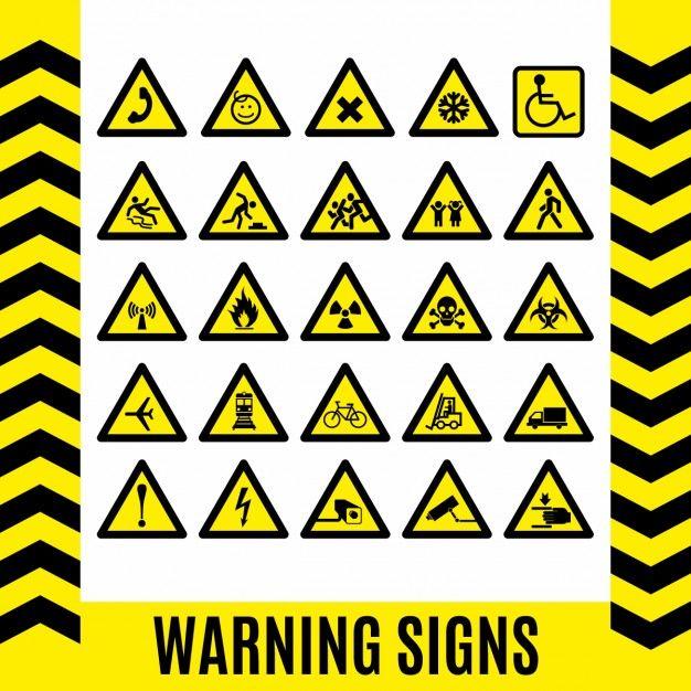 Conjunto de señales de advertencia Vector Gratis | Trabajo y ...