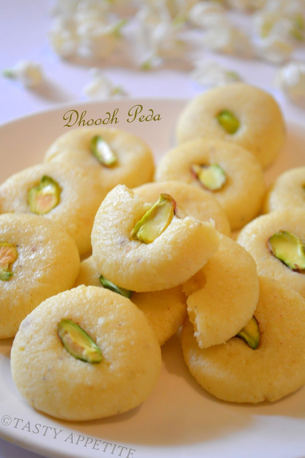 Doodh Peda - 'Milk Fudge' - is a rich and delicious sweet made up of milk, sugar and butter.
