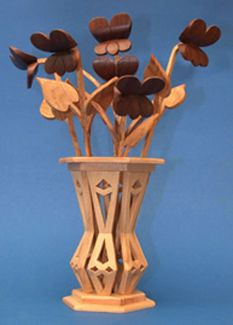 Mini Violets & Vase Compound Cut Project Patterns | {Wood