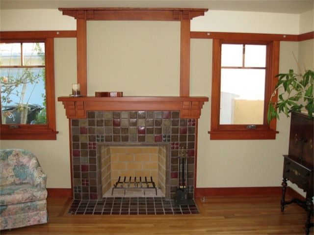 Interior Wall Trim Colors | Craftsman Interior With Natural Wood Trim, Tile  Fireplace And Wood