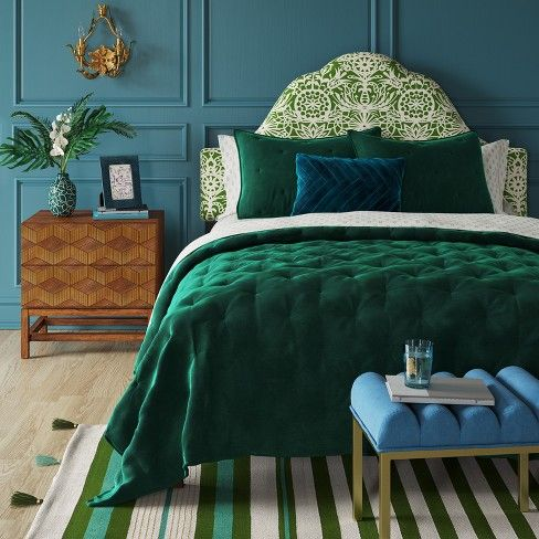 Decor Bedroom Green, Jewel Tone Green Bedding
