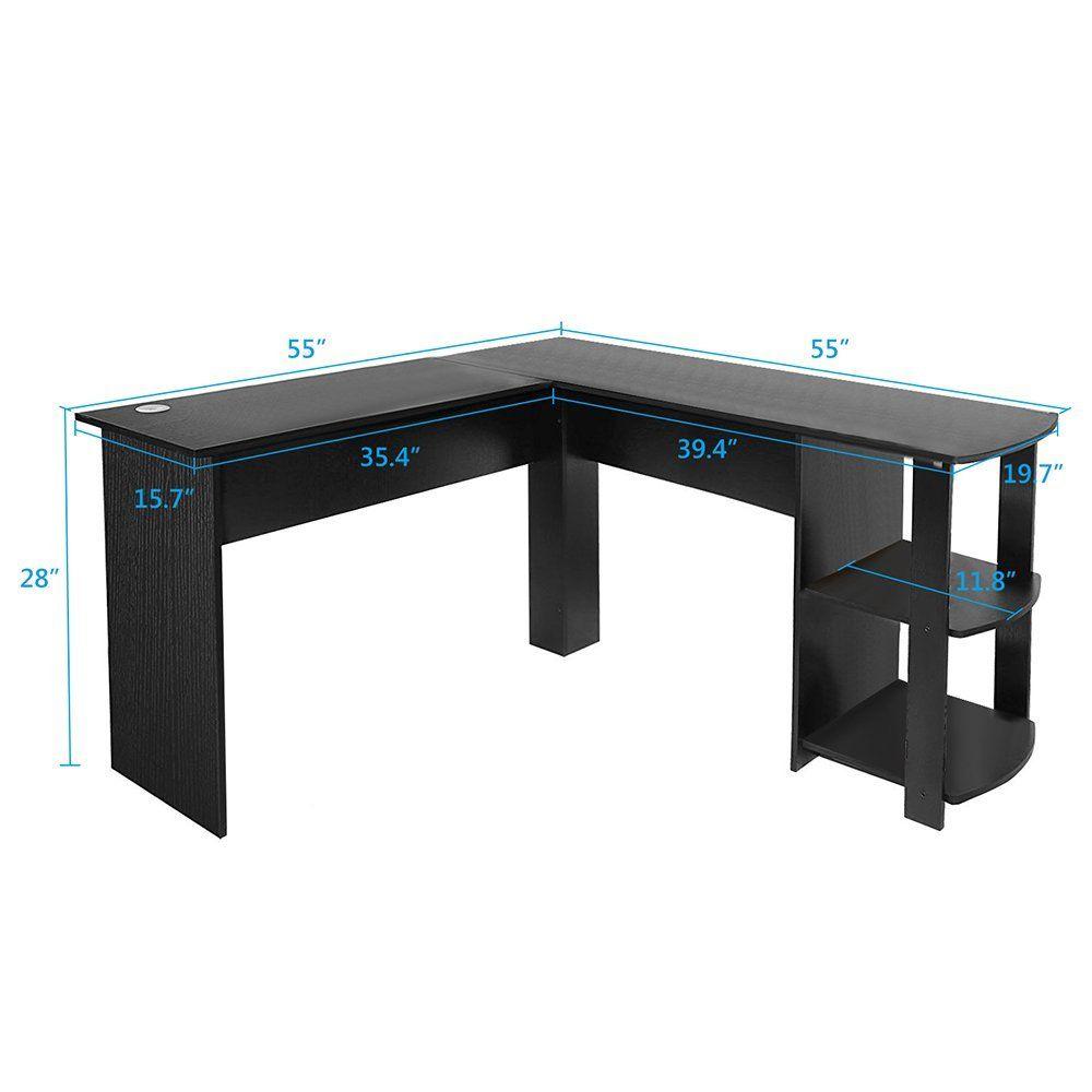 Modern lshaped desk with large desktop workstation for home and