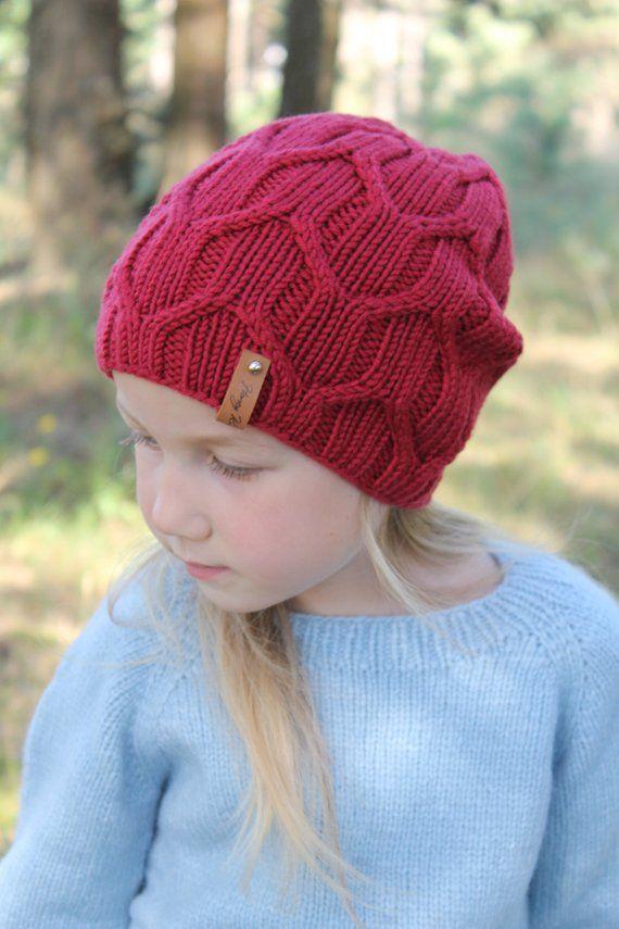 436b246bd373e1 Red Knit Girl Hat Girl Autumn Hat Knitted Merino Wool Girls Beanie, Hand  Knit Girl Beanie Hand knitt