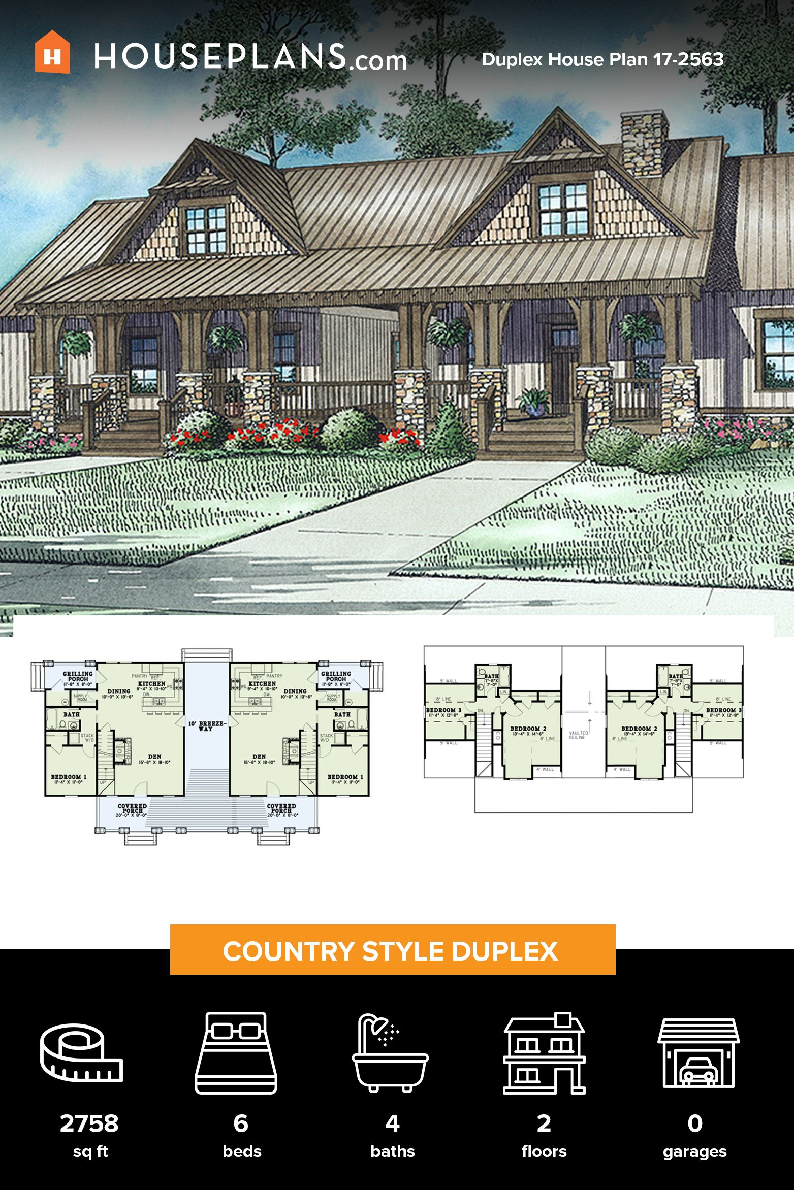 Country Style House Plan 6 Beds 4 Baths 2758 Sq Ft Plan 17 2563 In 2020 Country Style House Plans Duplex House Plans House Plans