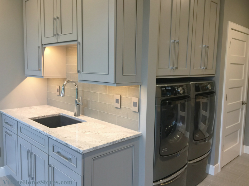 cambria harvest laundry room ideas | @durasupreme painted Zinc gray finish with Slate accent in ...