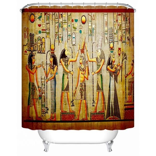 Chic Egyptian Wall Painting Print 3d Bathroom Shower Curtain On