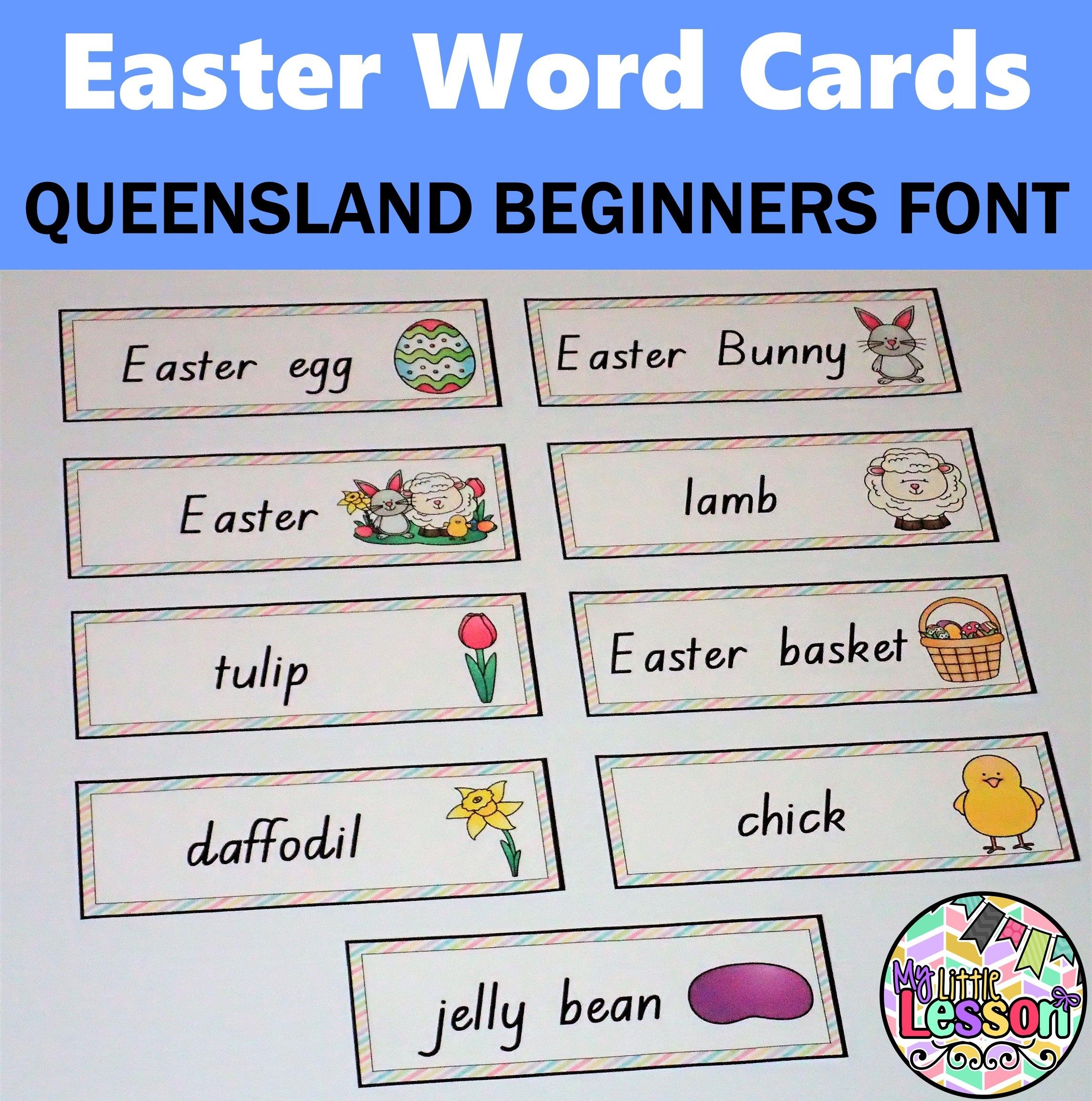 Freebie These Easter Words Has Been Created In The Queensland Beginners Font It Includes 9