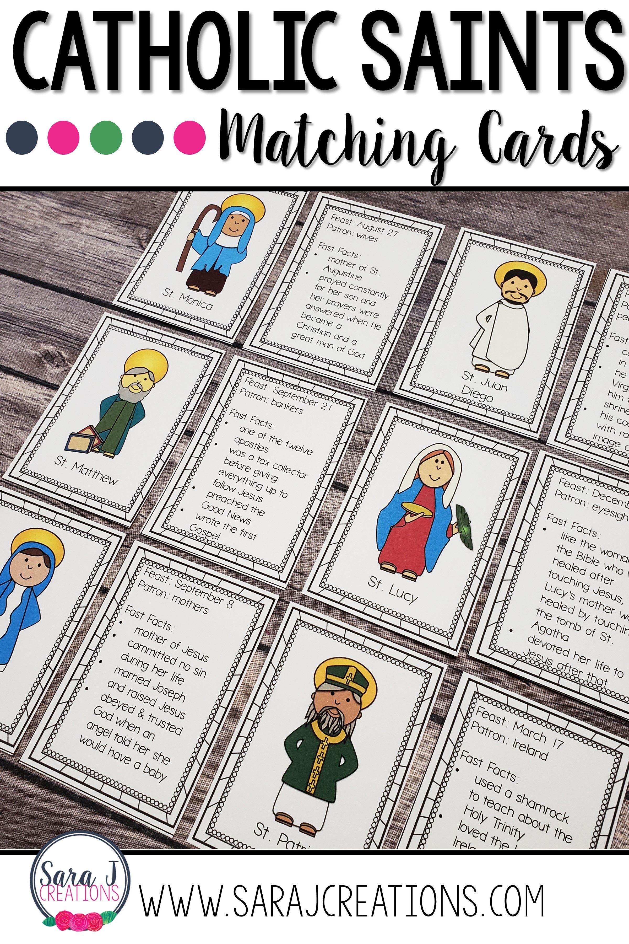 Catholic Saints Matching Activities