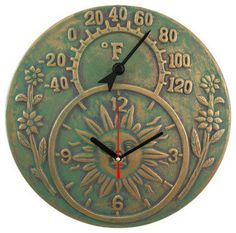 Superb Verdigris Finish Terracotta Sun Face Clock / Thermometer   Traditional    Outdoor Products   Things2Die4 $24.99