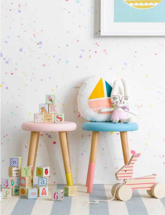 Taburete para niños en color azul y rosa. #taburete #sillitas #niños ...