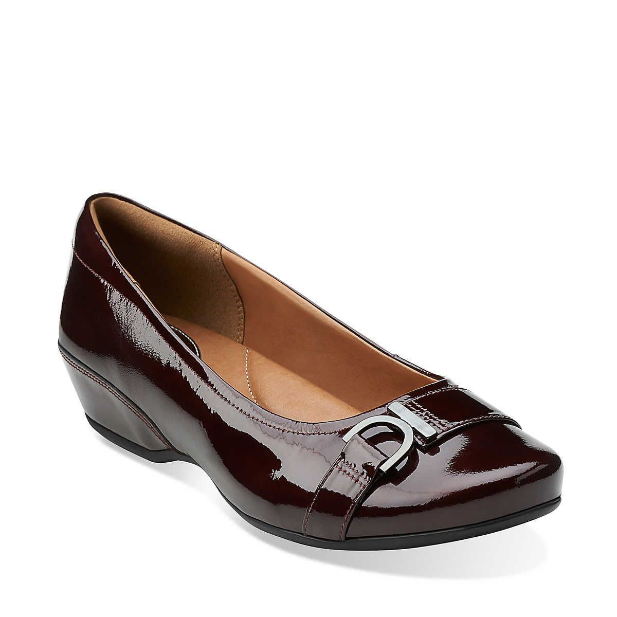 Womens Shoes Clarks Concert Band Burgundy Patent